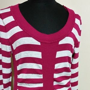 Cranberry/Fuchia Striped Sweater with ruching